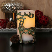 Reindeer Games Decorative Holder and Candle Set with Timer