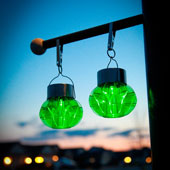 Acrylic Lime Green Solar Hanging Lanterns, Set of 3